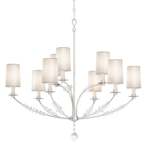 Hudson Valley Lighting Crystorama 8009-PN Transitional Nine Light Chandelier from Mirage Collection in Chrome, Pol. Nckl.Finish, 9