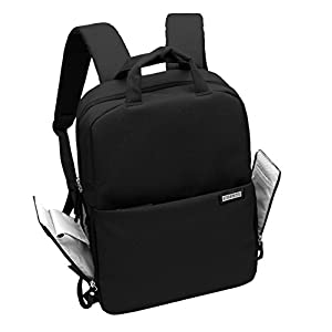 Camera Bag DSLR Laptop Backpack Waterproof Travel Large Size Multifunctional Backbag Water Resistant Sony Canon Nikon Olympus Lens Tripod and Accessories (M, Black)