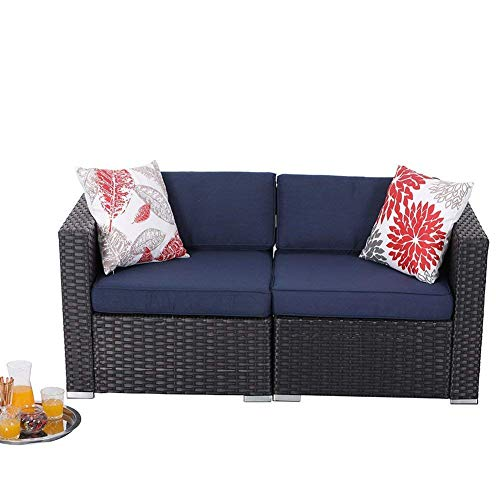 PHI VILLA Wicker Outdoor Loveseat 2 Piece Patio Couch with Washable Cushions, Outdoor Furniture Sofa Sets Blue