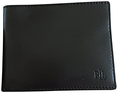 Lauren Ralph Lauren Men's Soft Burnished Leather Passcase Bifold Wallet,Black,One Size