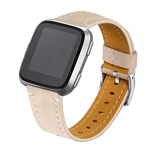 bayite Bands Compatible Fitbit Versa, Classic Genuine Leather Wristband Fitness Strap for Versa, Beige Large