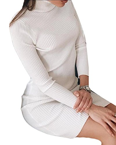 Jaycargogo Manches Longues Femmes Midi Minceur Col Roulé Robe Pull En Tricot Blanc