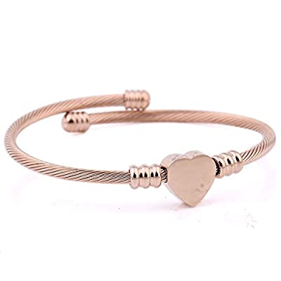 Nice VQYSKO 3 Colors Jewelry Women's Stainless Steel Twisted Cable Wire Heart Charm Bracelet Bangle