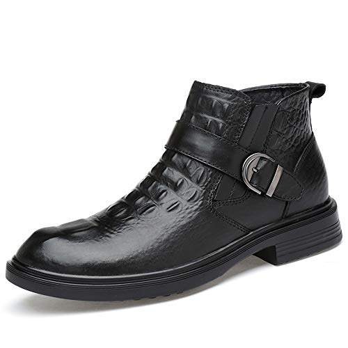 DADIJIER Men's Business Casual Ankle Boots Comfortable Crocodile Pattern Faux Fleece Inside Elastic High Top Formal Shoes(Smooth Black is Optional) Durable ()