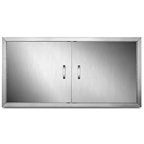 Mophorn 42 Inch Double Stainless Door Flush Mount BBQ Island Double Walled Door Commercial 304 Brushed Stainless Steel for Outdoor Kitchen (42 Inch)