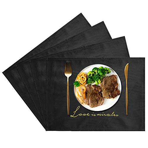 JTX Placemats Set of 4 for Dining Table Place Mats Heat Resistant Velvet Place Mats Non-Slip Washable Table Mats Protect The Table from Messes (Black)