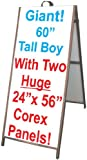 60'' Wood A-Frame Sidewalk Signs - Coroplast Panels!