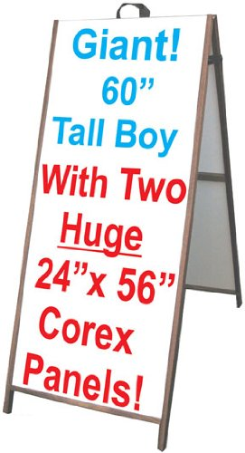 60'' Wood A-Frame Sidewalk Signs - Coroplast Panels! by Accent Printing & Signs