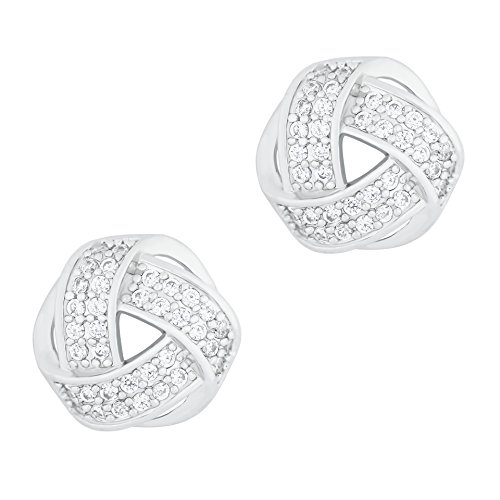 (ORROUS & CO Legacy Collection 18K Gold Plated Cubic Zirconia Twisted Love Knot Stud Earrings)