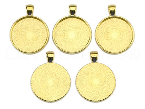CleverDelights 20 Pack 1'' Round Pendant Trays - Gold Color - 25mm Pendant Blanks Settings by CleverDelights
