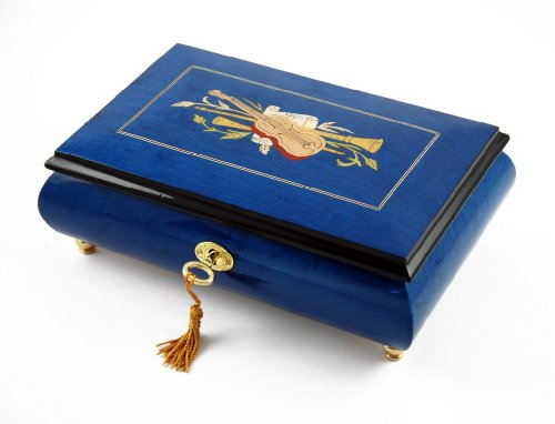 Impressive Royal Blue Instrument and Floral Wood Inlay Musical Jewelry Box - Over 400 Song Choices - Reich Mir Die Hand Mein Laben SWISS (Mira Wood Box)