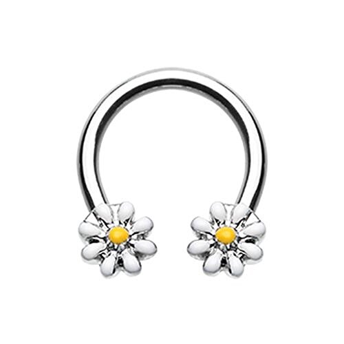 Daisy Flower 316L Surgical Steel Freedom Fashion Horseshoe Circular Barbell (16GA, 3/8