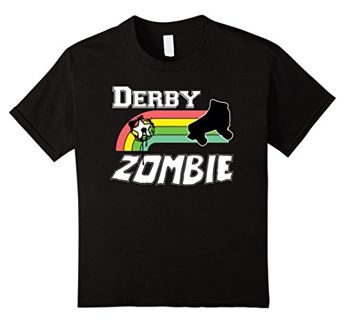 Roller Derby Costumes (Kids Roller Derby Zombie Halloween Costume T Shirt 12 Black)