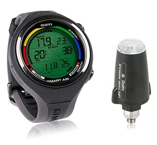 Mares Smart Air Dive Computer Wrist Watch with or Without LED Transmitter (Black with Transmitter)