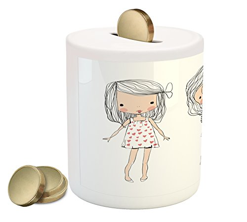 Cute Piggy Bank by Lunarable, Girls Fashion Theme Three Hand Drawn Childish Figures in Different Clothes, Printed Ceramic Coin Bank Money Box for Cash Saving, Nude Black - Dorm In Nude
