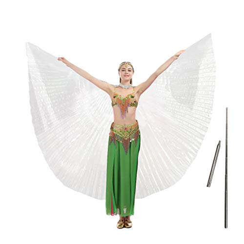 - iMucci 55inch Adult Women Belly Dance Wing with Rods-360 Degree Isis Angel Wings with Portable Telescopic Sticks White