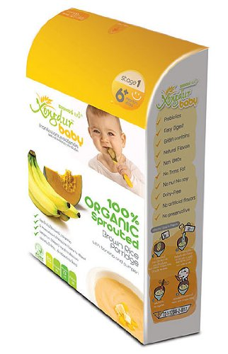 Xongdur Baby Health Fully Delicious Organic Cereal 100% Organic Sprouted Brown Rice Porridge with Banana & Pumpkin 120g. - 20g. X 6 Sachets for Baby 6 Months+ Stage 1