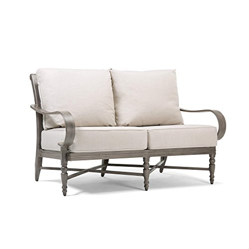 Blue Oak Outdoor Saylor Patio Furniture Loveseat with Outdura Remy Sand Cushion