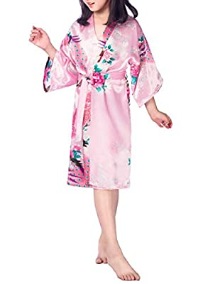 SexyTown Girls' Peacock Kimono Robe Satin Bridesmaid Sleepwear Wedding Nightgown