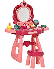 Qaba 36 Pcs Children Vanity Musical Dressing Table Kids Magic Glamour Princess Mirror Make Up Desk with Stool Beauty Kit Lights Pretend Toy for 3 Years Old Wine Red+Pink