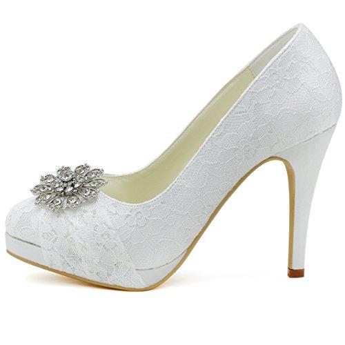 El Novia Cordones ElegantPark Rhinestones blanco Alto Punta tacón De Chiusa Zapatos HC1413P Satín Mujer Plataforma Bombas Hg1H0Rqw