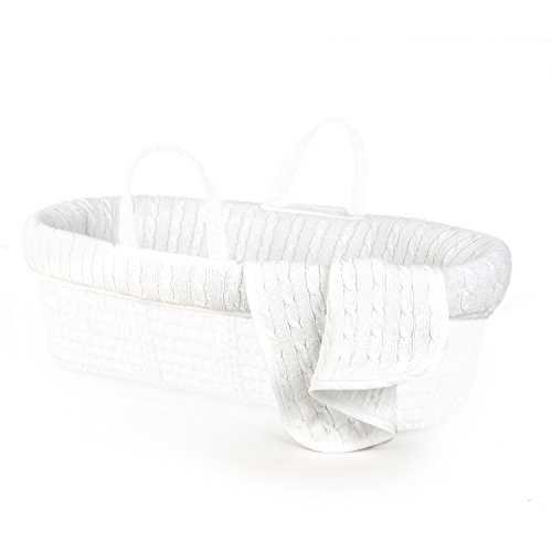 Tadpoles Cable Knit Moses Basket Bedding Only, White by Tadpoles