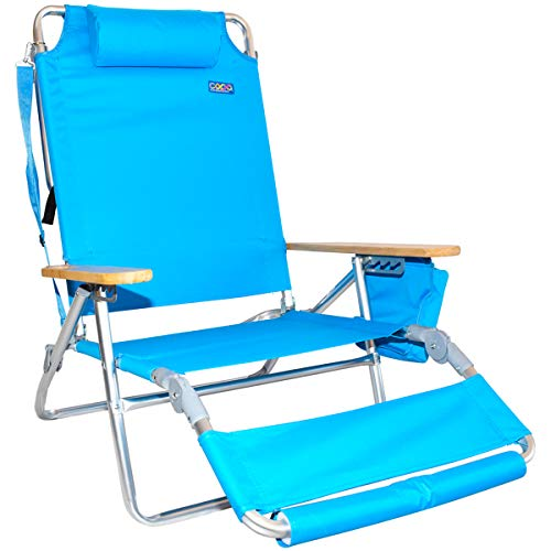 COPA 3N1 LayFlat Beach Chair & Lounger with Insulated Cooler - Light Blue