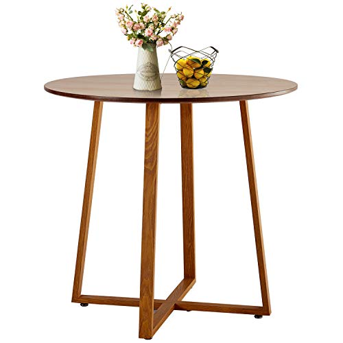 Round Office Pedestal - VECELO Kitchen Dining Table Round Solid Wood Coffee Tables Office Conference Pedestal Desk with Natural Wooden Rectangle Legs