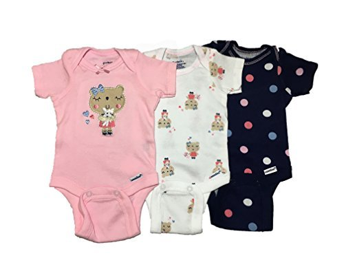 Gerber Baby Girls Onesies Bodysuits 3 Pack Bear Hugs 3-9 Months