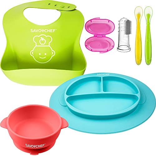 6PC Silicone Baby Feeding Set - Silicone Bowl and Silicone Plates - Suction Silicone Bowl and Dishes for Toddler - Toothbrush for Toddlers