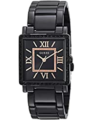 GUESS Womens Stainless Steel Retangular Ion-Plated Casual Watch, Color: Black (Model: U0827L4)