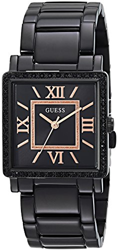 Guess Women's Stainless Steel Retangular Ion-Plated Casual Watch, Color Black (Model: U0827L4)