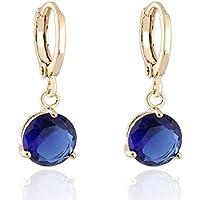 Round Crystal 18k Gold Plated Earrings Stud Women Jewelry Earnuts Gs0461
