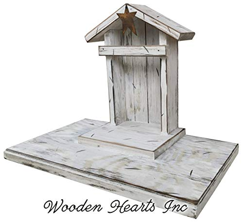 STABLE for NATIVITY *Creche only (Willow Tree figures not included) Distressed REAL Wood Manger *Compatible with Demdaco Nativity Figures *Green Antique White *NO ASSEMBLY *Handmade in USA - Sale Tin