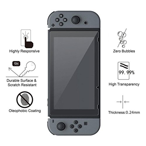 Vanvler Tempered glass Screen Protector Film Guard Sheet for Nintendo Switch Console Clear (2PCS) by Vanvler (Image #5)