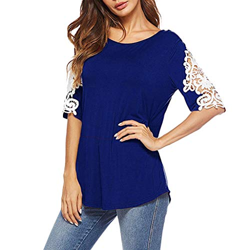 (Lovor Womens Summer Shirts Casual Tee Round Neck Half Sleeve Lace Loose Fits Tunic Tops Blouses Tunics Tops Curved Hem(Blue,XL))