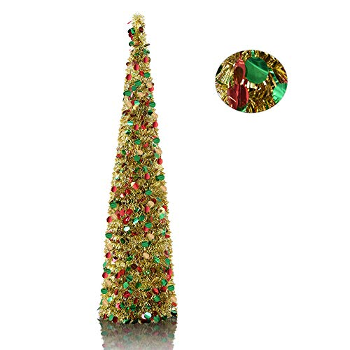 YuQi 5' Gold Point Tinsel Pop-Up Artificial Christmas Tree,Collapsible Pencil Christmas Trees Features Sequins Accents for Apartments,Dorm Rooms,Fireplace or Party