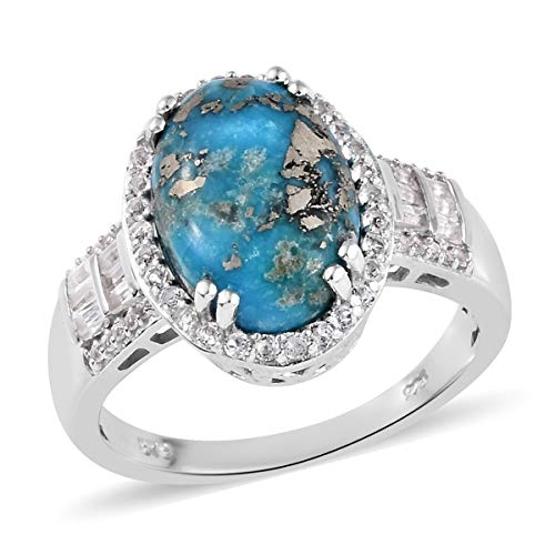 Halo Ring 925 Sterling Silver Platinum Plated Turquoise White Topaz Jewelry for Women Size 5