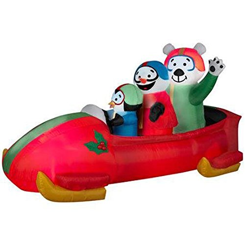 Gemmy Airblown Inflatable Animated Shaking Bobsled With A Penguin, Snowman, And Polar Bear Inside - Indoor Outdoor Yard Decoration, 7-foot Long x 3.5-foot Tall x 3-foot Wide