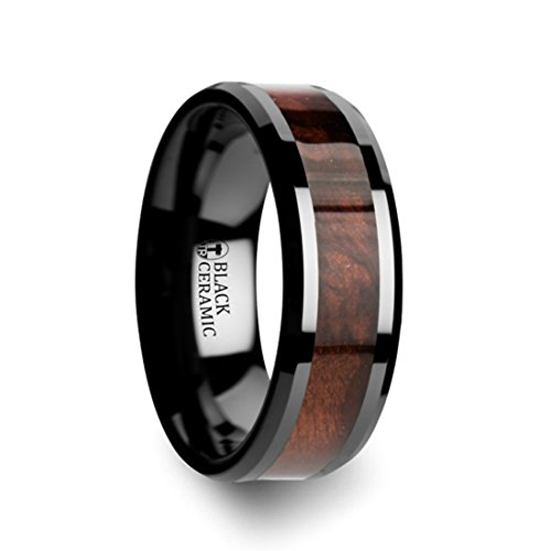 Thorsten CERISE Genuine Redwood Wood Inlaid Black Ceramic Ring with Beveled Edges - 8mm Wide Band with Free Custom Engraving Personalized from by Roy Rose Jewelry - Cerise Ceramic