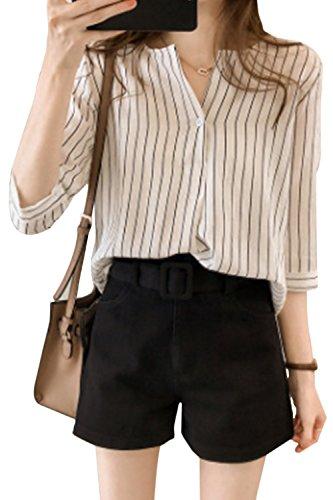 Le Long De Manche Et Blouses Bouton White V Taille Femmes Au Cou Les Coton qZwXp5x