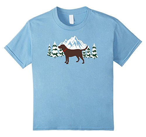 Kids Chocolate Labrador Retriever T-Shirt Winter Snow Scene tee 10 Baby (Scene Dog T-shirt)