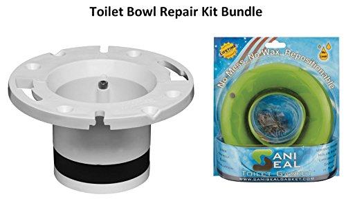 Toilet Bowl Repair Kit Bundle = Oatey 43539 PVC Cast Iron Fl