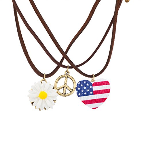 Hippie Peace Sign Jewelry Set (Lux Accessories Red White & Blue American Flag Peace Sign Necklace Set)