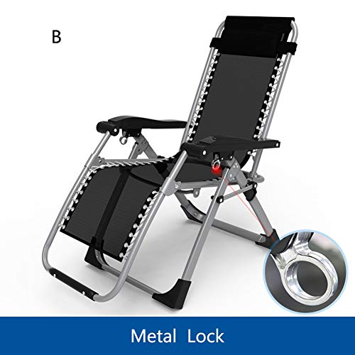 (XIAOMEI Patio Folding Chairs,Lounger with Foot Rest Breathable Textilene Zero Gravity Adjustable Reclining Backrest Lazy Deck Chair Headrest-b)