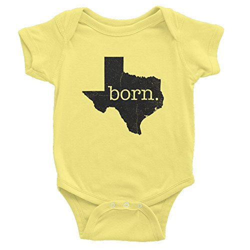 (Texas Born - Texas State - Distressed Print - Onesie Baby Gift T-Shirt - Banana )