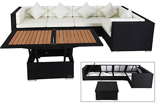 OUTFLEXX XXL Lounge Sofaset Sofatisch höhenverstellbarer Loungetisch, aus hochwertigem Polyrattan in schwarz für 6 Personen, inkl. Polster und Boxfunktion, Zeitloses Design, wetterfest