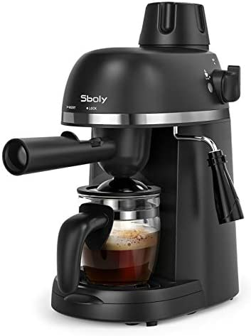 Sboly Espresso Machine with Milk Frother, 1-4 Cup Expresso Maker Latte Cappuccino Machine, Carafe integrated