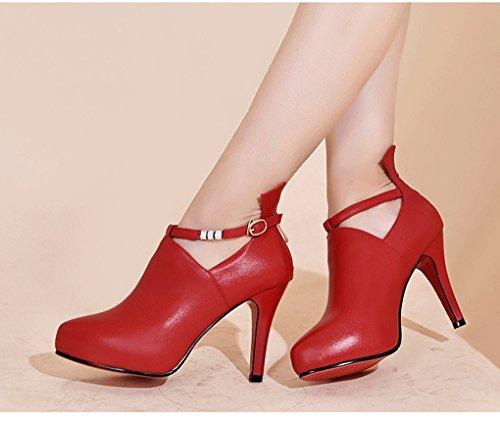de femmes Couleur taille hauts boucle Rouge chaussures strass pointu Printemps en véritable à Confortable 39 Noir HJHY® ceinture cuir talons simple qP7WnCnUaz