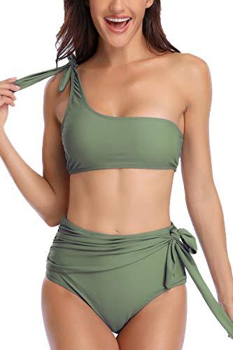 Almaree Women Tie Shoulder Knot Front High Waist Two Piece Swimwear Swimsuit Green S